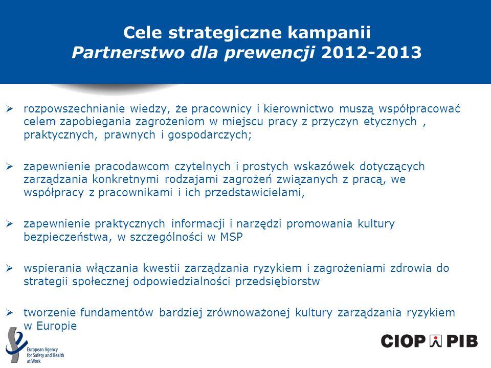 Cele strategiczne kampanii Partnerstwo dla prewencji 2012-2013 rozpowszechnianie wiedzy, że pracownicy i kierownictwo muszą współpracować celem zapobi