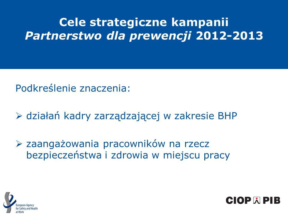 Podkreślenie znaczenia: działań kadry zarządzającej w zakresie BHP zaangażowania pracowników na rzecz bezpieczeństwa i zdrowia w miejscu pracy Cele st