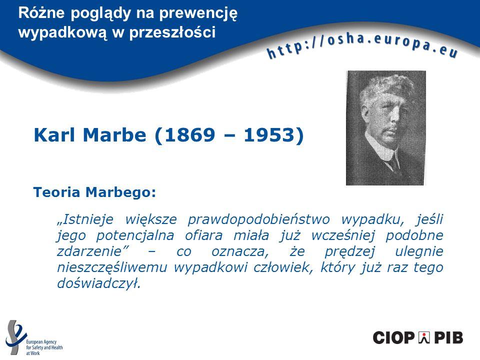 Karl Marbe (1869 – 1953) Teoria Marbego: Istnieje większe prawdopodobieństwo wypadku, jeśli jego potencjalna ofiara miała już wcześniej podobne zdarze