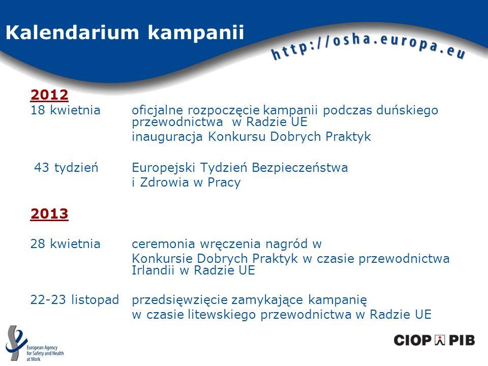 2012 18 kwietnia oficjalne rozpoczęcie kampanii podczas duńskiego przewodnictwa w Radzie UE inauguracja Konkursu Dobrych Praktyk 43 tydzień Europejski