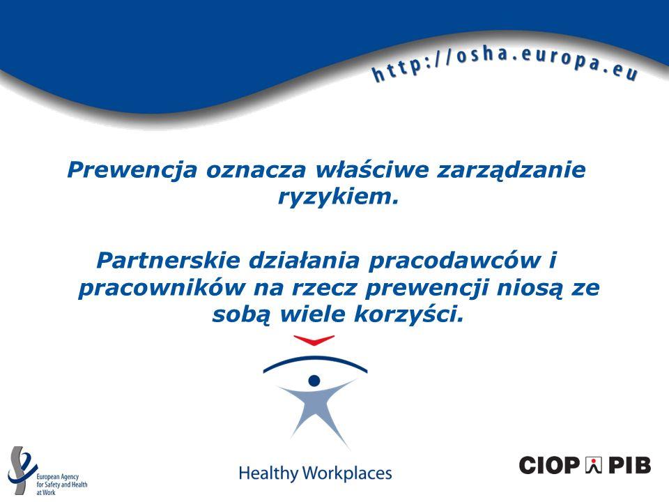Prewencja oznacza właściwe zarządzanie ryzykiem. Partnerskie działania pracodawców i pracowników na rzecz prewencji niosą ze sobą wiele korzyści.