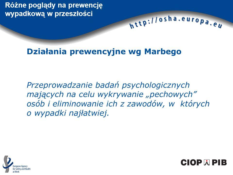 Różne poglądy na prewencję wypadkową w przeszłości Działania prewencyjne wg Marbego Przeprowadzanie badań psychologicznych mających na celu wykrywanie