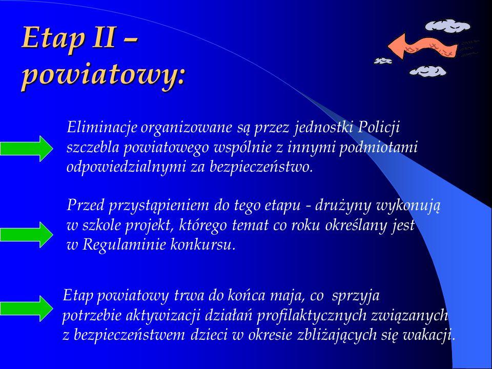 Etap II – powiatowy: Przed przystąpieniem do tego etapu - drużyny wykonują w szkole projekt, którego temat co roku określany jest w Regulaminie konkursu.