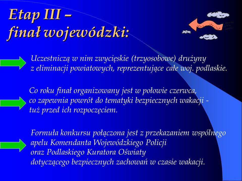 Etap III – finał wojewódzki: Uczestniczą w nim zwycięskie (trzyosobowe) drużyny z eliminacji powiatowych, reprezentujące całe woj.