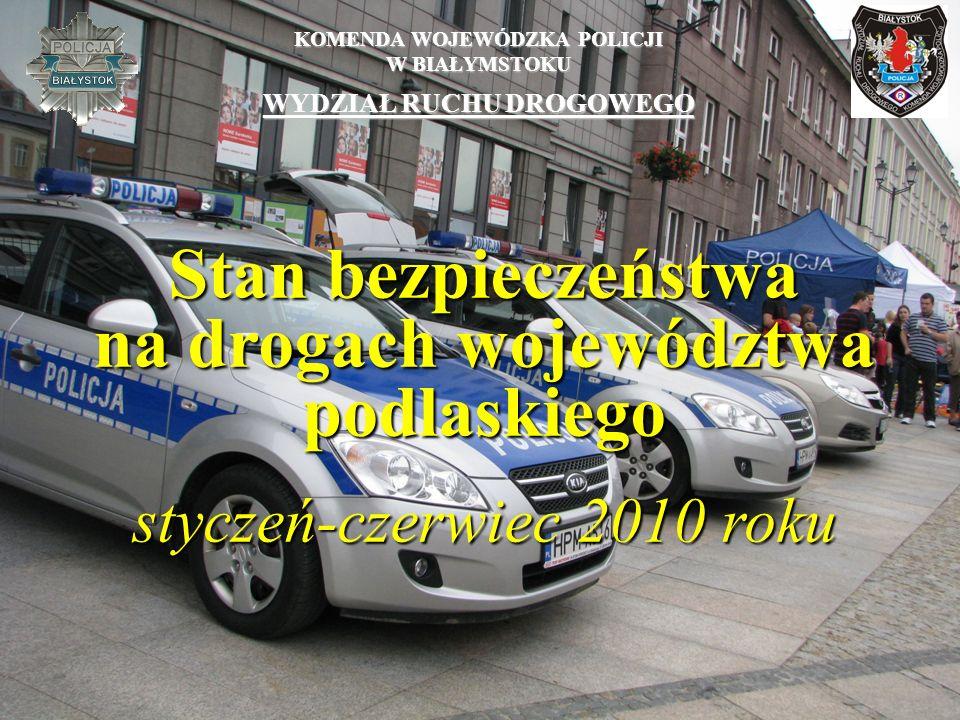 KOMENDA WOJEWÓDZKA POLICJI W BIAŁYMSTOKU WYDZIAŁ RUCHU DROGOWEGO Stan bezpieczeństwa na drogach województwa podlaskiego styczeń-czerwiec 2010 roku
