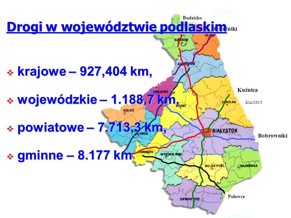 Budzisko Ogrodniki Kuźnica Połowce Bobrowniki LITWA BIAŁORUŚ UKRAINA Drogi w województwie podlaskim krajowe – 927,404 km, krajowe – 927,404 km, wojewó