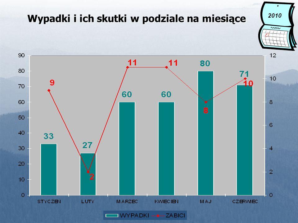 2010 Wypadki i ich skutki w podziale na miesiące