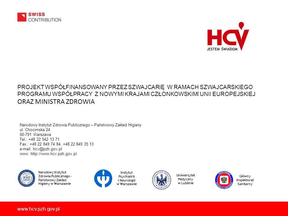www.hcv.pzh.gov.pl PROJEKT WSPÓŁFINANSOWANY PRZEZ SZWAJCARIĘ W RAMACH SZWAJCARSKIEGO PROGRAMU WSPÓŁPRACY Z NOWYMI KRAJAMI CZŁONKOWSKIMI UNII EUROPEJSK