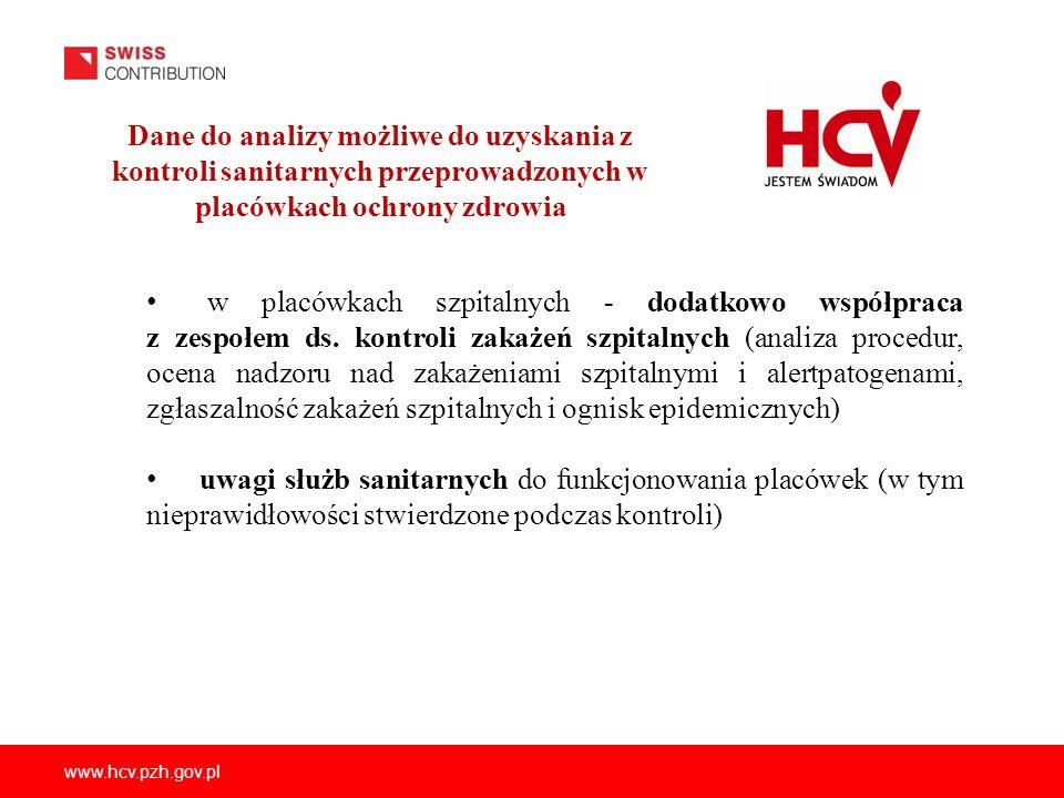 www.hcv.pzh.gov.pl Dane do analizy możliwe do uzyskania z kontroli sanitarnych przeprowadzonych w placówkach ochrony zdrowia w placówkach szpitalnych