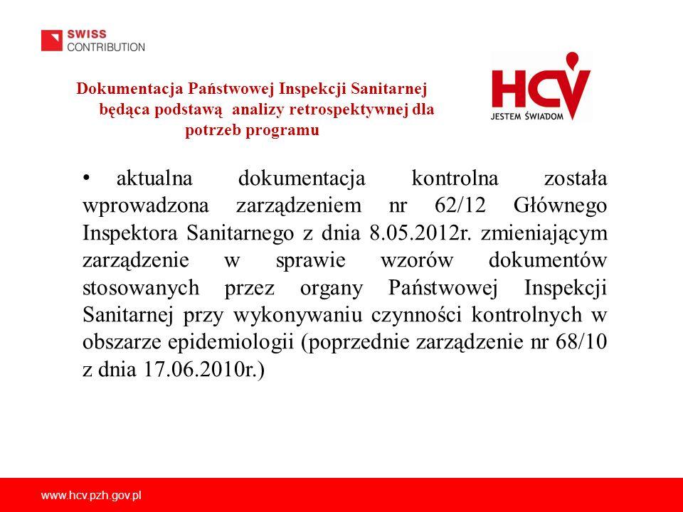www.hcv.pzh.gov.pl Dokumentacja Państwowej Inspekcji Sanitarnej będąca podstawą analizy retrospektywnej dla potrzeb programu aktualna dokumentacja kon