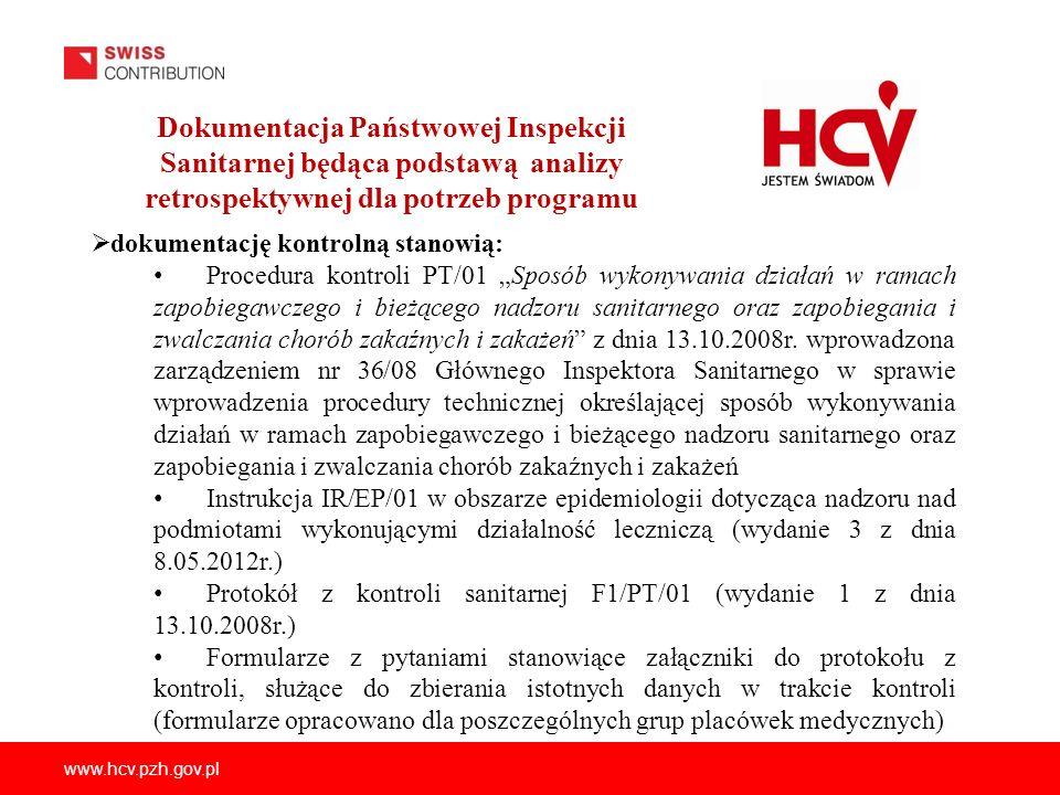 www.hcv.pzh.gov.pl Dokumentacja Państwowej Inspekcji Sanitarnej będąca podstawą analizy retrospektywnej dla potrzeb programu dokumentację kontrolną st