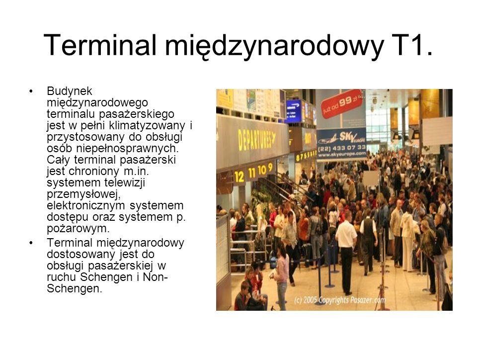 Terminal międzynarodowy T1. Budynek międzynarodowego terminalu pasażerskiego jest w pełni klimatyzowany i przystosowany do obsługi osób niepełnosprawn