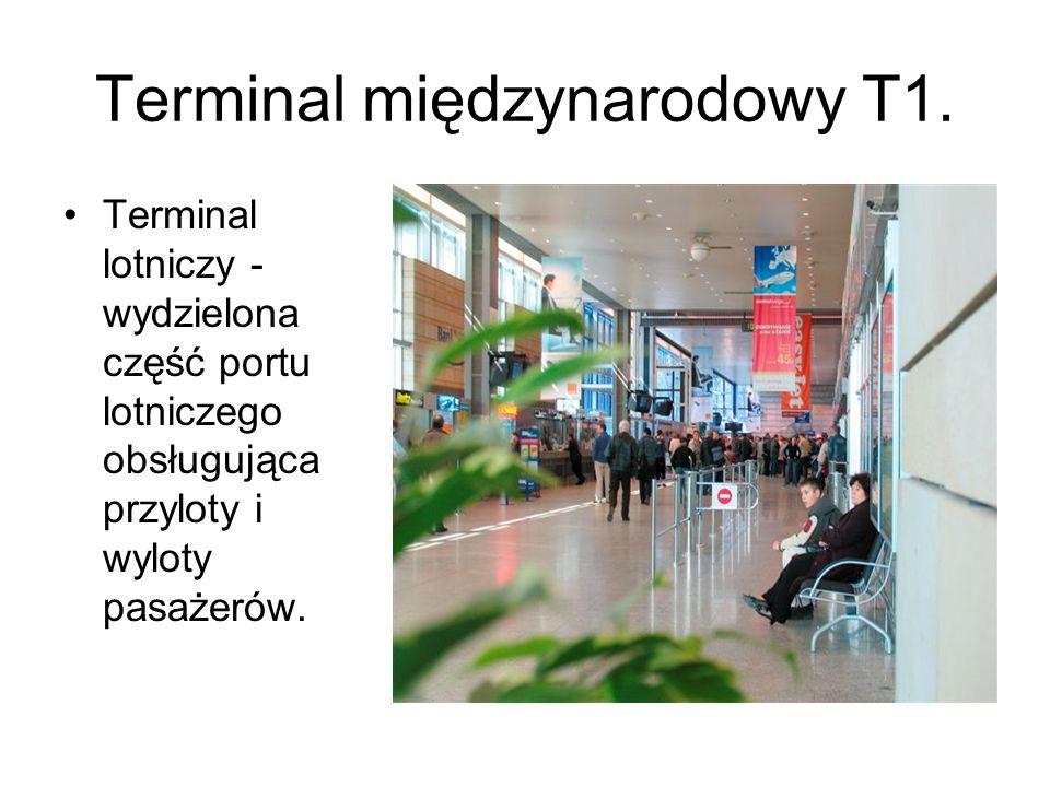 Terminal międzynarodowy T1. Terminal lotniczy - wydzielona część portu lotniczego obsługująca przyloty i wyloty pasażerów.