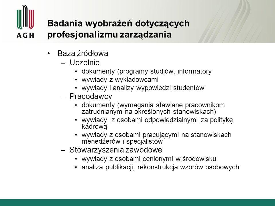 Badania wyobrażeń dotyczących profesjonalizmu zarządzania Baza źródłowa –Uczelnie dokumenty (programy studiów, informatory wywiady z wykładowcami wywiady i analizy wypowiedzi studentów –Pracodawcy dokumenty (wymagania stawiane pracownikom zatrudnianym na określonych stanowiskach) wywiady z osobami odpowiedzialnymi za politykę kadrową wywiady z osobami pracującymi na stanowiskach menedżerów i specjalistów –Stowarzyszenia zawodowe wywiady z osobami cenionymi w środowisku analiza publikacji, rekonstrukcja wzorów osobowych