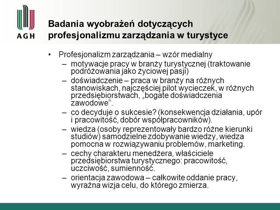 Badania wyobrażeń dotyczących profesjonalizmu zarządzania w turystyce Profesjonalizm zarządzania – wzór medialny –motywacje pracy w branży turystyczne