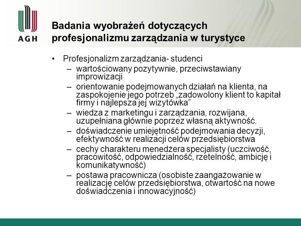 Badania wyobrażeń dotyczących profesjonalizmu zarządzania w turystyce Profesjonalizm zarządzania- studenci –wartościowany pozytywnie, przeciwstawiany