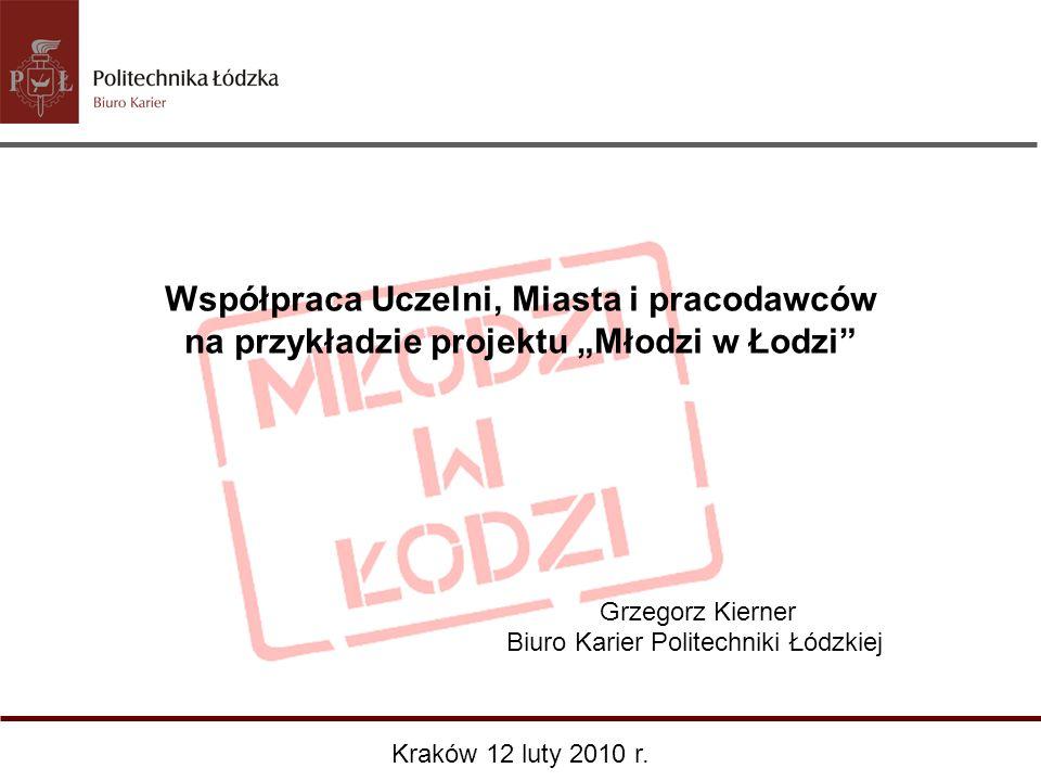 Współpraca Uczelni, Miasta i pracodawców na przykładzie projektu Młodzi w Łodzi Grzegorz Kierner Biuro Karier Politechniki Łódzkiej Kraków 12 luty 201