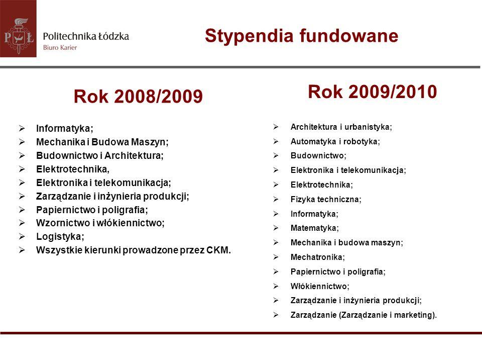 Stypendia fundowane Rok 2008/2009 Informatyka; Mechanika i Budowa Maszyn; Budownictwo i Architektura; Elektrotechnika, Elektronika i telekomunikacja;