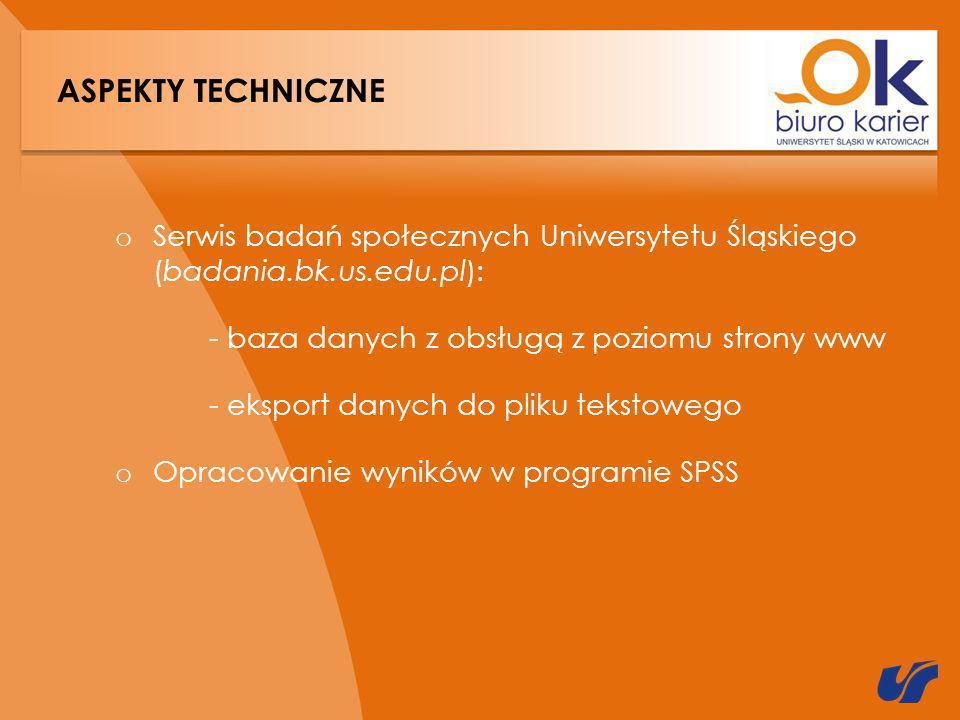 ASPEKTY TECHNICZNE o Serwis badań społecznych Uniwersytetu Śląskiego (badania.bk.us.edu.pl): - baza danych z obsługą z poziomu strony www - eksport danych do pliku tekstowego o Opracowanie wyników w programie SPSS