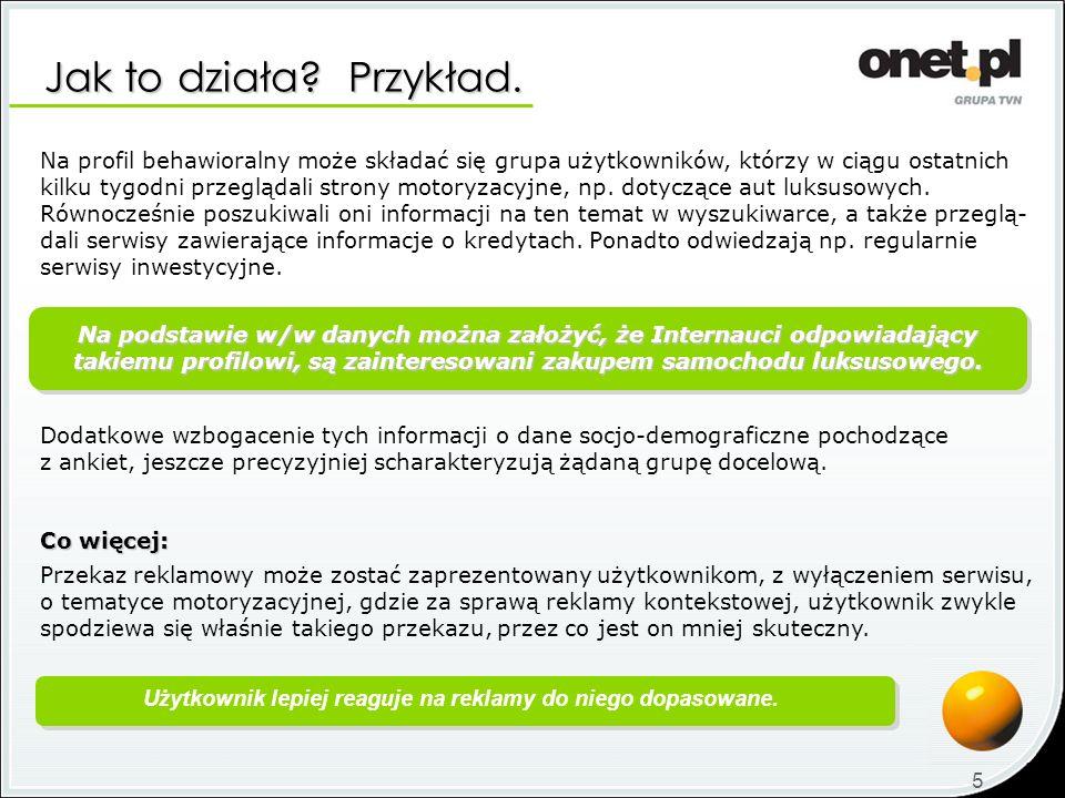 Jak to działa? Przykład. 5 Na profil behawioralny może składać się grupa użytkowników, którzy w ciągu ostatnich kilku tygodni przeglądali strony motor