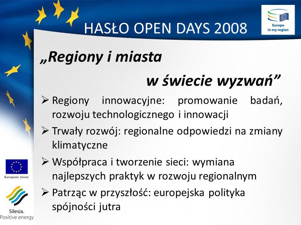 HASŁO OPEN DAYS 2008 Regiony i miasta w świecie wyzwań Regiony innowacyjne: promowanie badań, rozwoju technologicznego i innowacji Trwały rozwój: regionalne odpowiedzi na zmiany klimatyczne Współpraca i tworzenie sieci: wymiana najlepszych praktyk w rozwoju regionalnym Patrząc w przyszłość: europejska polityka spójności jutra