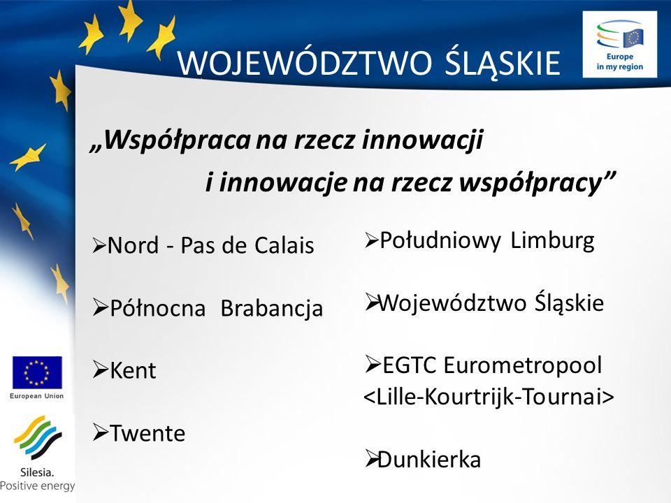 WOJEWÓDZTWO ŚLĄSKIE Współpraca na rzecz innowacji i innowacje na rzecz współpracy Nord - Pas de Calais Północna Brabancja Kent Twente Południowy Limburg Województwo Śląskie EGTC Eurometropool Dunkierka