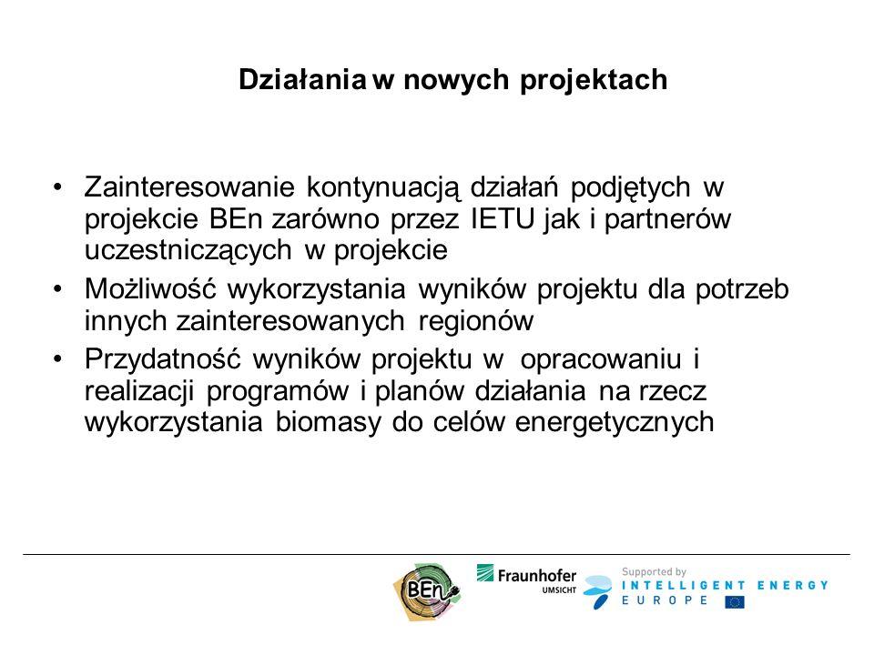 Działania w nowych projektach Zainteresowanie kontynuacją działań podjętych w projekcie BEn zarówno przez IETU jak i partnerów uczestniczących w projekcie Możliwość wykorzystania wyników projektu dla potrzeb innych zainteresowanych regionów Przydatność wyników projektu w opracowaniu i realizacji programów i planów działania na rzecz wykorzystania biomasy do celów energetycznych