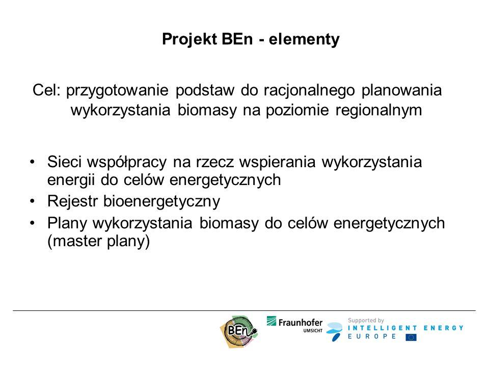 Projekt BEn - elementy Cel: przygotowanie podstaw do racjonalnego planowania wykorzystania biomasy na poziomie regionalnym Sieci współpracy na rzecz wspierania wykorzystania energii do celów energetycznych Rejestr bioenergetyczny Plany wykorzystania biomasy do celów energetycznych (master plany)