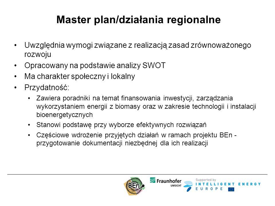 Master plan/działania regionalne Uwzględnia wymogi związane z realizacją zasad zrównoważonego rozwoju Opracowany na podstawie analizy SWOT Ma charakter społeczny i lokalny Przydatność: Zawiera poradniki na temat finansowania inwestycji, zarządzania wykorzystaniem energii z biomasy oraz w zakresie technologii i instalacji bioenergetycznych Stanowi podstawę przy wyborze efektywnych rozwiązań Częściowe wdrożenie przyjętych działań w ramach projektu BEn - przygotowanie dokumentacji niezbędnej dla ich realizacji