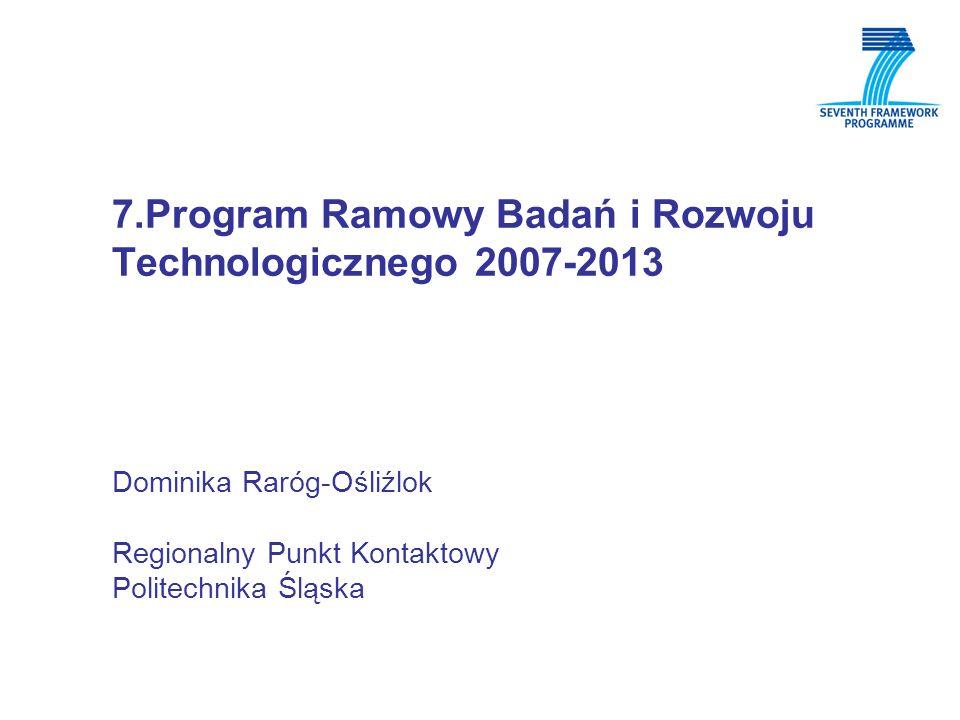 7.Program Ramowy Badań i Rozwoju Technologicznego 2007-2013 Dominika Raróg-Ośliźlok Regionalny Punkt Kontaktowy Politechnika Śląska