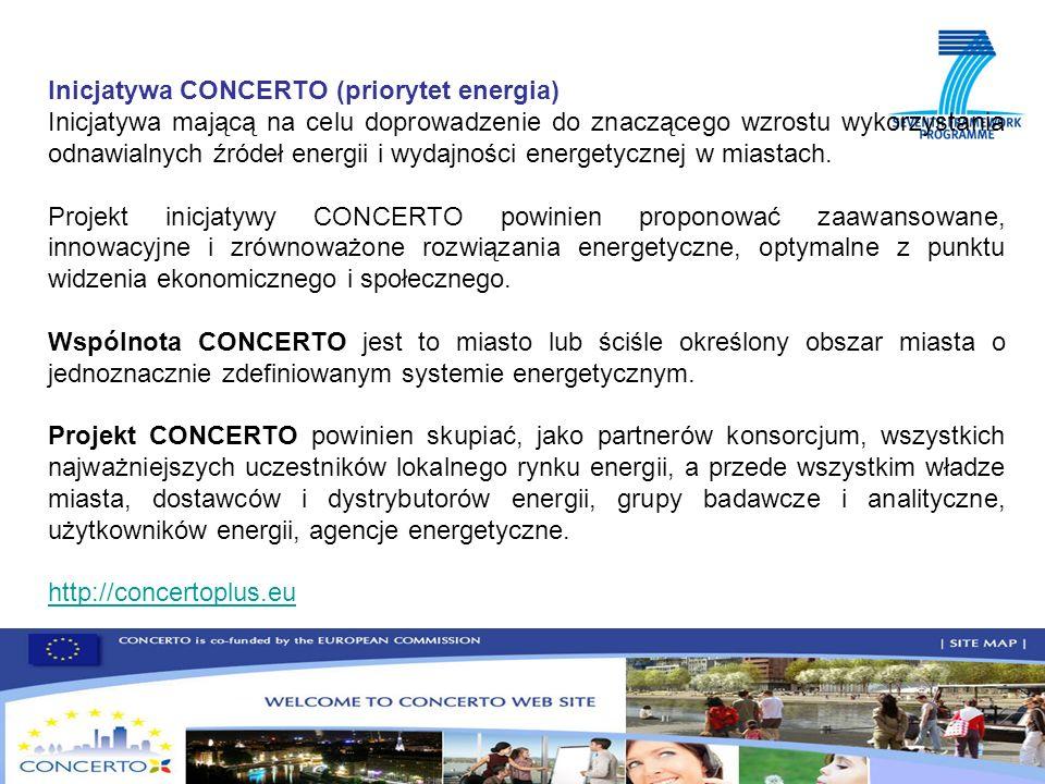 Inicjatywa CONCERTO (priorytet energia) Inicjatywa mającą na celu doprowadzenie do znaczącego wzrostu wykorzystania odnawialnych źródeł energii i wydajności energetycznej w miastach.