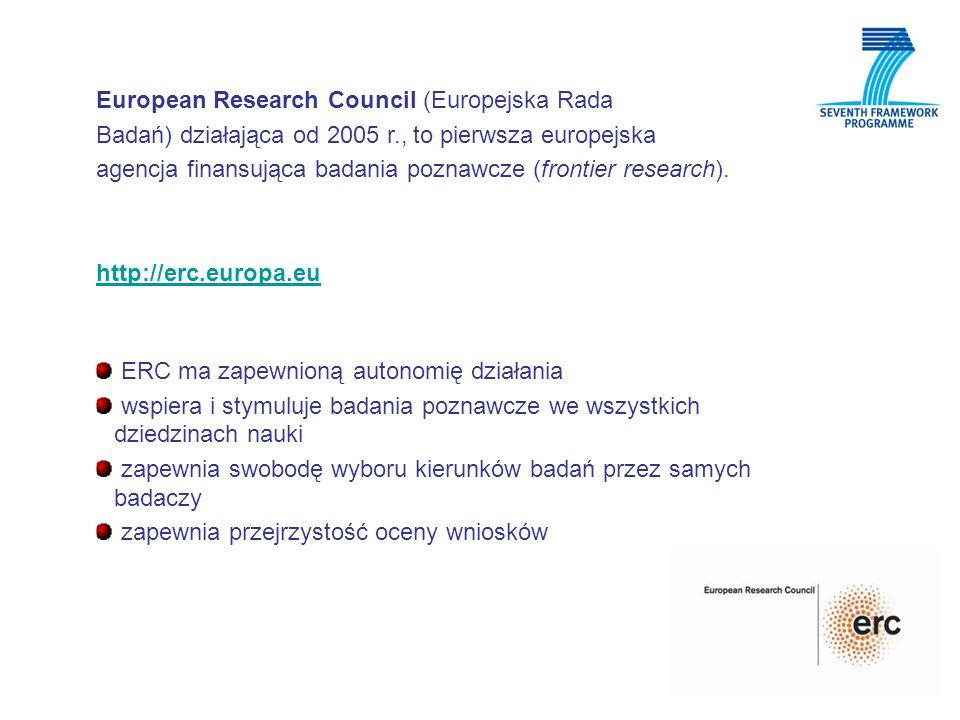 European Research Council (Europejska Rada Badań) działająca od 2005 r., to pierwsza europejska agencja finansująca badania poznawcze (frontier resear