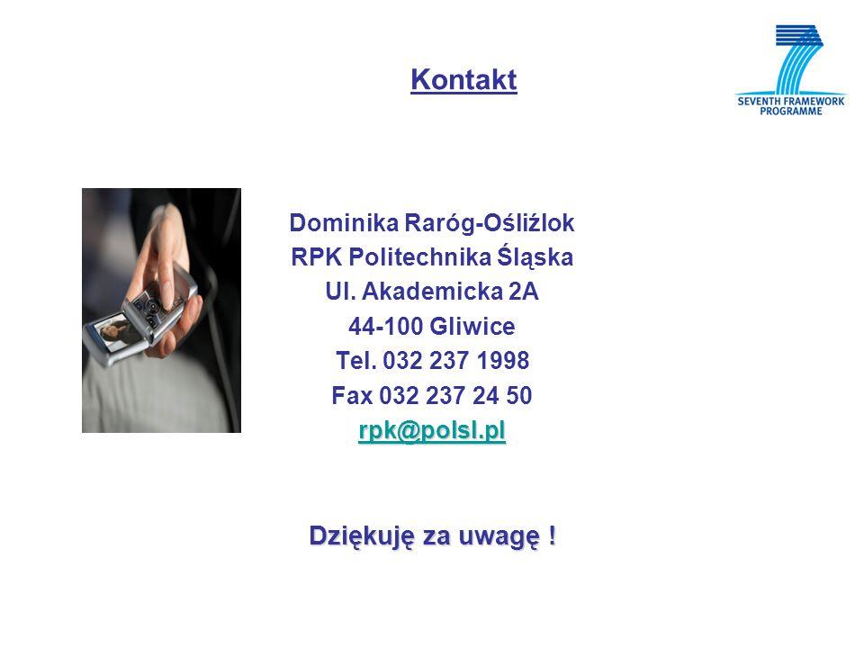 Kontakt Dominika Raróg-Ośliźlok RPK Politechnika Śląska Ul.