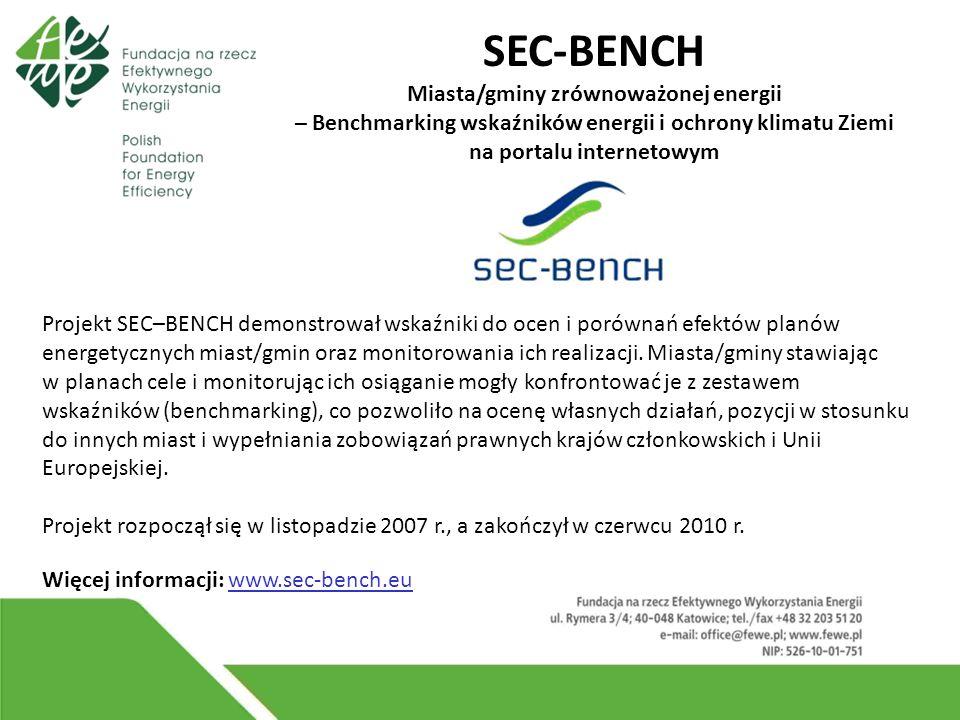 SEC-BENCH Miasta/gminy zrównoważonej energii – Benchmarking wskaźników energii i ochrony klimatu Ziemi na portalu internetowym Projekt SEC–BENCH demonstrował wskaźniki do ocen i porównań efektów planów energetycznych miast/gmin oraz monitorowania ich realizacji.