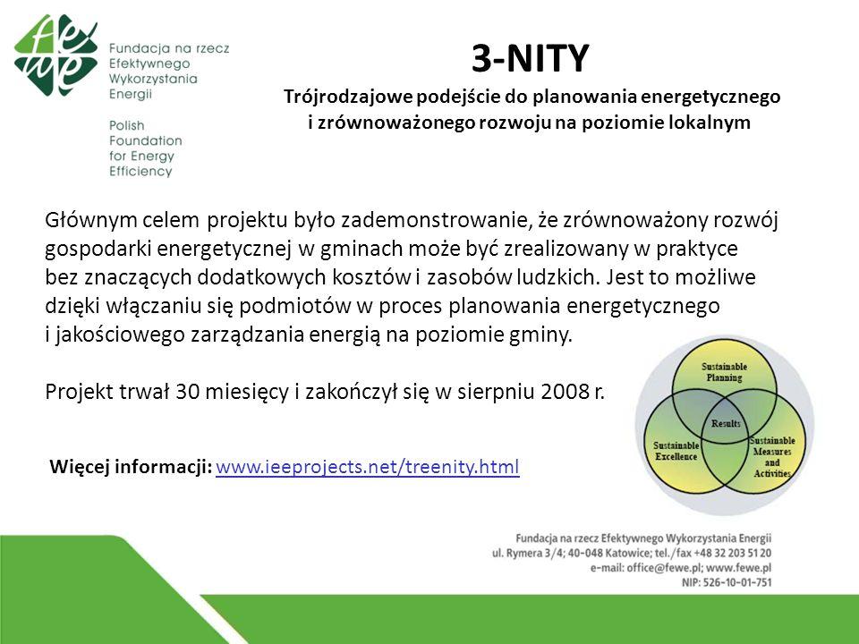 3-NITY Trójrodzajowe podejście do planowania energetycznego i zrównoważonego rozwoju na poziomie lokalnym Więcej informacji: www.ieeprojects.net/treenity.html Głównym celem projektu było zademonstrowanie, że zrównoważony rozwój gospodarki energetycznej w gminach może być zrealizowany w praktyce bez znaczących dodatkowych kosztów i zasobów ludzkich.