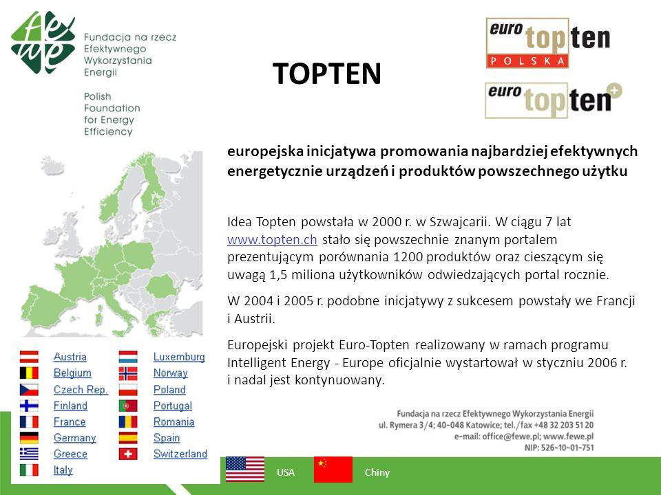 TOPTEN europejska inicjatywa promowania najbardziej efektywnych energetycznie urządzeń i produktów powszechnego użytku USAChiny Idea Topten powstała w 2000 r.