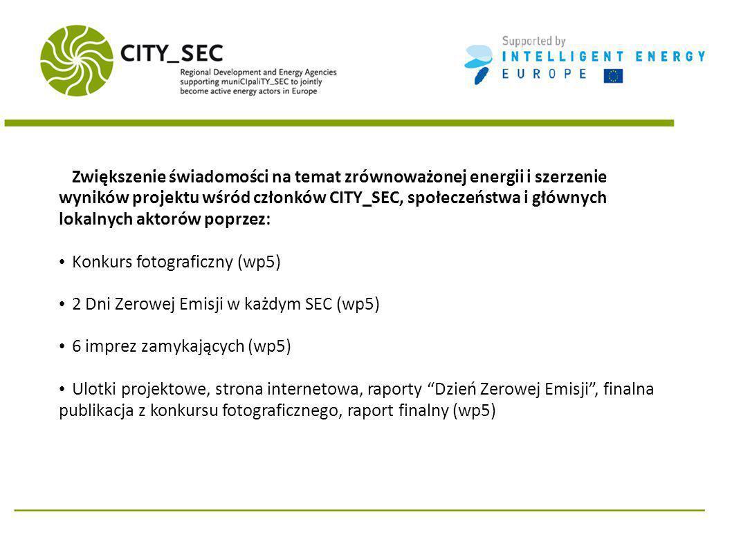Zwiększenie świadomości na temat zrównoważonej energii i szerzenie wyników projektu wśród członków CITY_SEC, społeczeństwa i głównych lokalnych aktorów poprzez: Konkurs fotograficzny (wp5) 2 Dni Zerowej Emisji w każdym SEC (wp5) 6 imprez zamykających (wp5) Ulotki projektowe, strona internetowa, raporty Dzień Zerowej Emisji, finalna publikacja z konkursu fotograficznego, raport finalny (wp5)