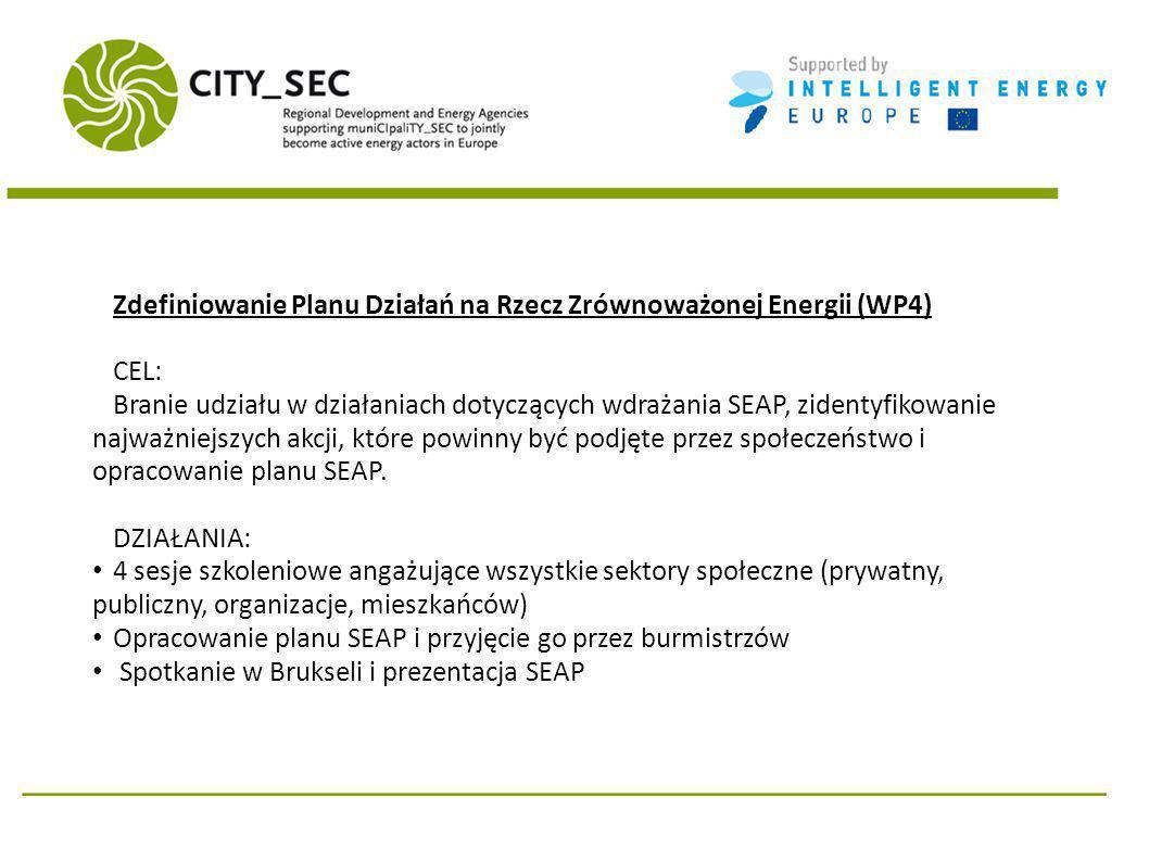 Zdefiniowanie Planu Działań na Rzecz Zrównoważonej Energii (WP4) CEL: Branie udziału w działaniach dotyczących wdrażania SEAP, zidentyfikowanie najważniejszych akcji, które powinny być podjęte przez społeczeństwo i opracowanie planu SEAP.