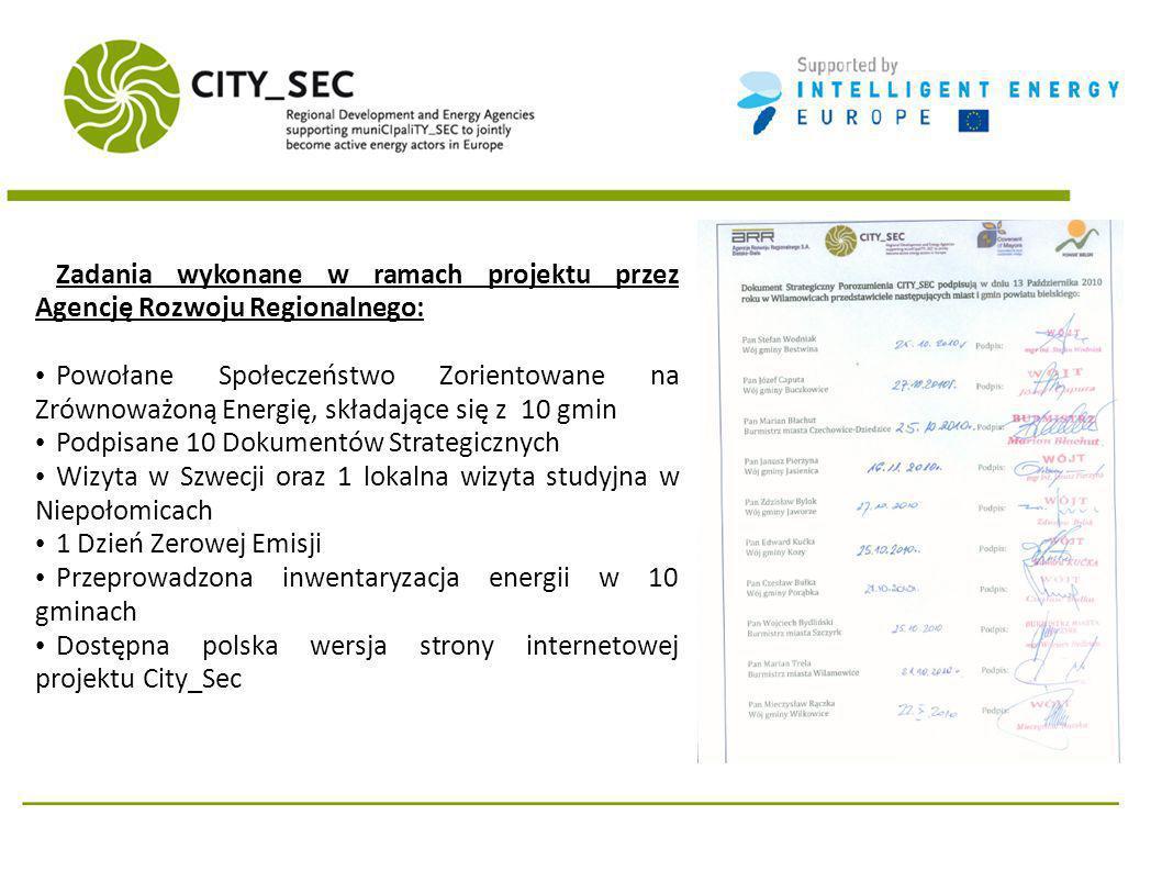 Zadania wykonane w ramach projektu przez Agencję Rozwoju Regionalnego: Powołane Społeczeństwo Zorientowane na Zrównoważoną Energię, składające się z 10 gmin Podpisane 10 Dokumentów Strategicznych Wizyta w Szwecji oraz 1 lokalna wizyta studyjna w Niepołomicach 1 Dzień Zerowej Emisji Przeprowadzona inwentaryzacja energii w 10 gminach Dostępna polska wersja strony internetowej projektu City_Sec