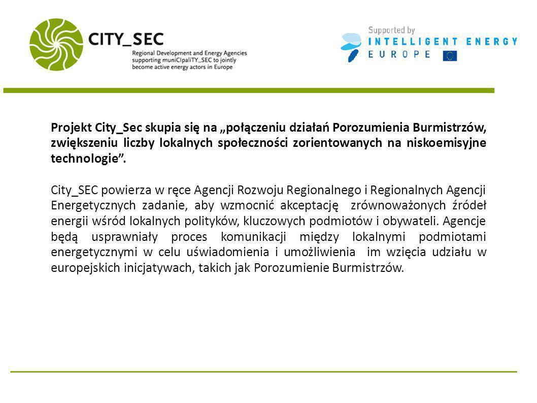 Projekt City_Sec skupia się na połączeniu działań Porozumienia Burmistrzów, zwiększeniu liczby lokalnych społeczności zorientowanych na niskoemisyjne technologie.