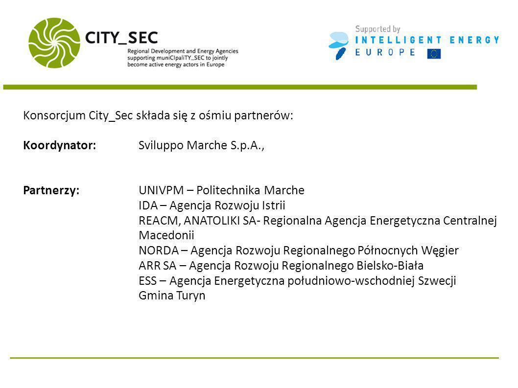 Konsorcjum City_Sec składa się z ośmiu partnerów: Koordynator: Sviluppo Marche S.p.A., Partnerzy: UNIVPM – Politechnika Marche IDA – Agencja Rozwoju Istrii REACM, ANATOLIKI SA- Regionalna Agencja Energetyczna Centralnej Macedonii NORDA – Agencja Rozwoju Regionalnego Północnych Węgier ARR SA – Agencja Rozwoju Regionalnego Bielsko-Biała ESS – Agencja Energetyczna południowo-wschodniej Szwecji Gmina Turyn
