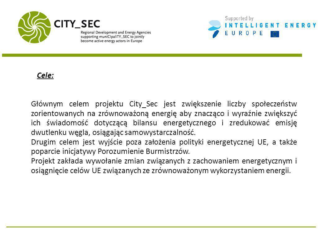 Cele: Głównym celem projektu City_Sec jest zwiększenie liczby społeczeństw zorientowanych na zrównoważoną energię aby znacząco i wyraźnie zwiększyć ich świadomość dotyczącą bilansu energetycznego i zredukować emisję dwutlenku węgla, osiągając samowystarczalność.