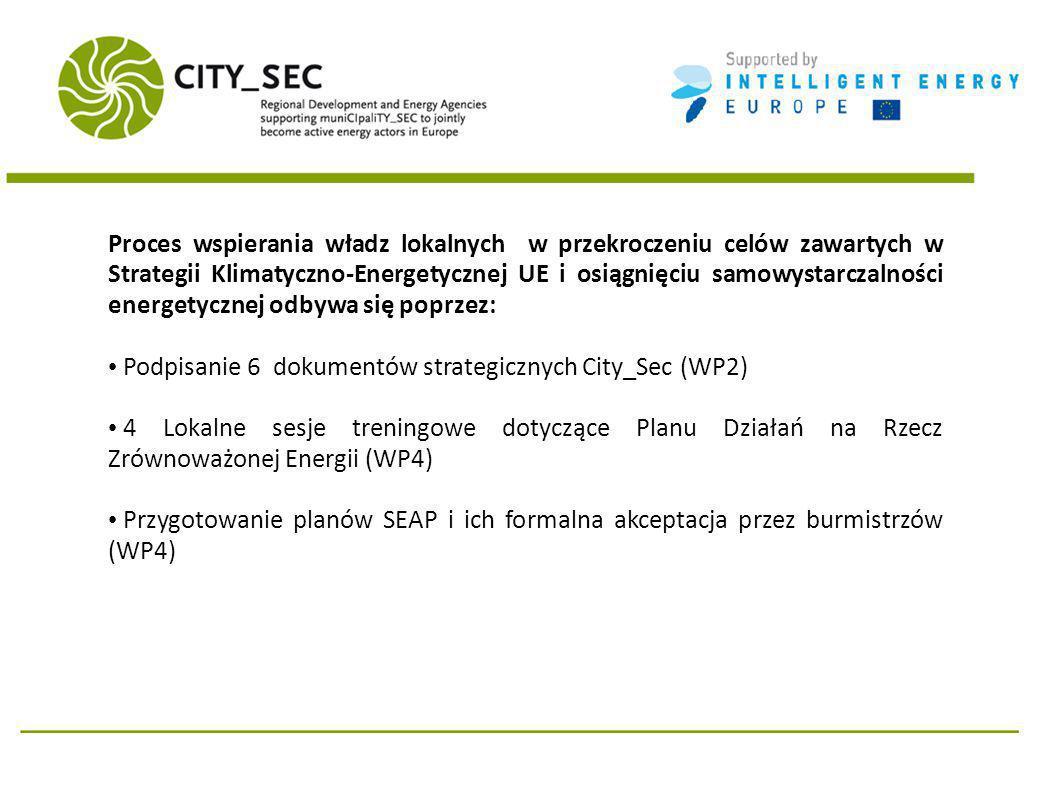 Proces wspierania władz lokalnych w przekroczeniu celów zawartych w Strategii Klimatyczno-Energetycznej UE i osiągnięciu samowystarczalności energetycznej odbywa się poprzez: Podpisanie 6 dokumentów strategicznych City_Sec (WP2) 4 Lokalne sesje treningowe dotyczące Planu Działań na Rzecz Zrównoważonej Energii (WP4) Przygotowanie planów SEAP i ich formalna akceptacja przez burmistrzów (WP4)
