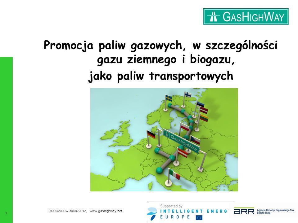 Promocja paliw gazowych, w szczególności gazu ziemnego i biogazu, jako paliw transportowych 01/05/2009 – 30/04/2012, www.gashighway.net 1
