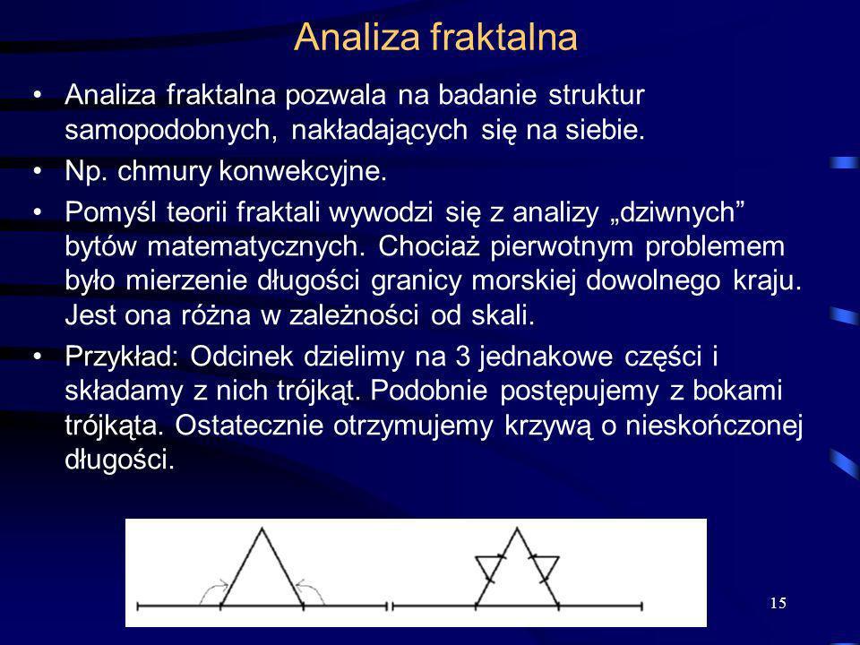15 Analiza fraktalna Analiza fraktalna pozwala na badanie struktur samopodobnych, nakładających się na siebie. Np. chmury konwekcyjne. Pomyśl teorii f
