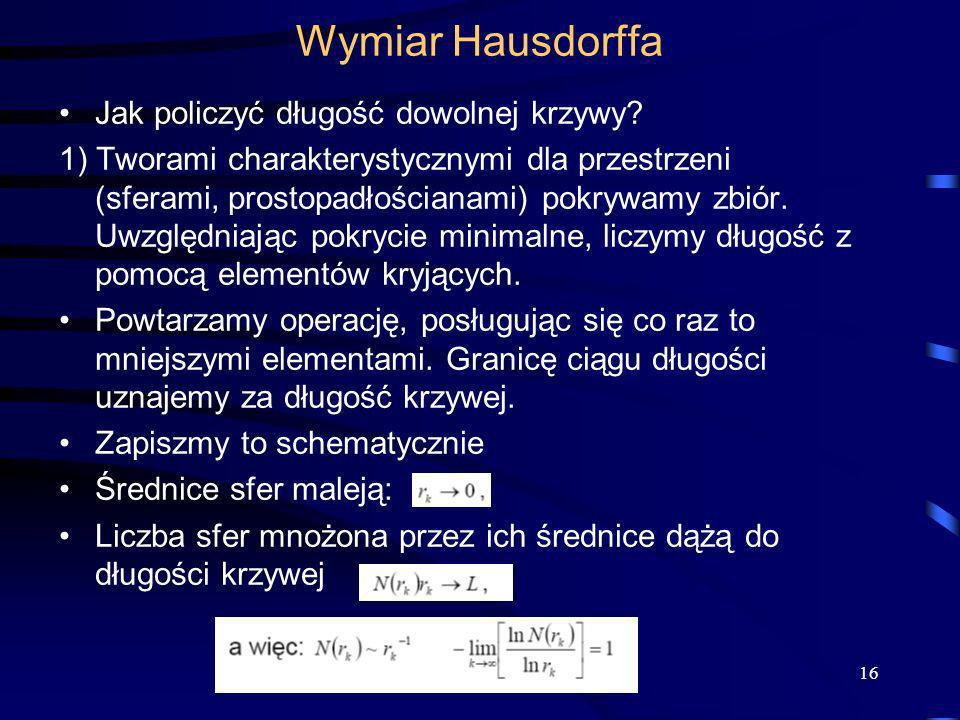 16 Wymiar Hausdorffa Jak policzyć długość dowolnej krzywy? 1) Tworami charakterystycznymi dla przestrzeni (sferami, prostopadłościanami) pokrywamy zbi