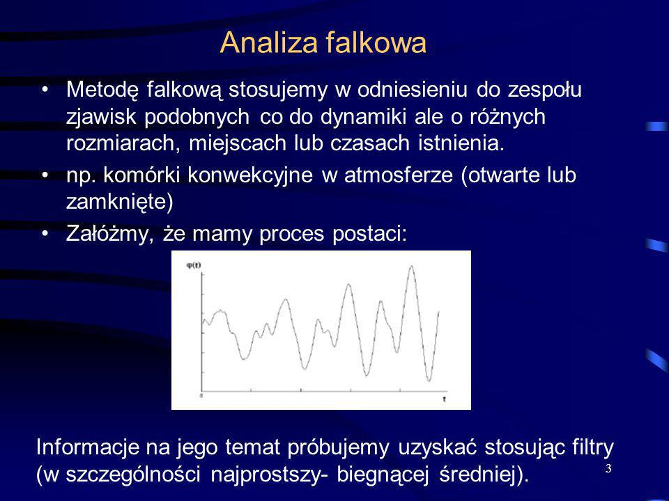 3 Analiza falkowa Metodę falkową stosujemy w odniesieniu do zespołu zjawisk podobnych co do dynamiki ale o różnych rozmiarach, miejscach lub czasach i