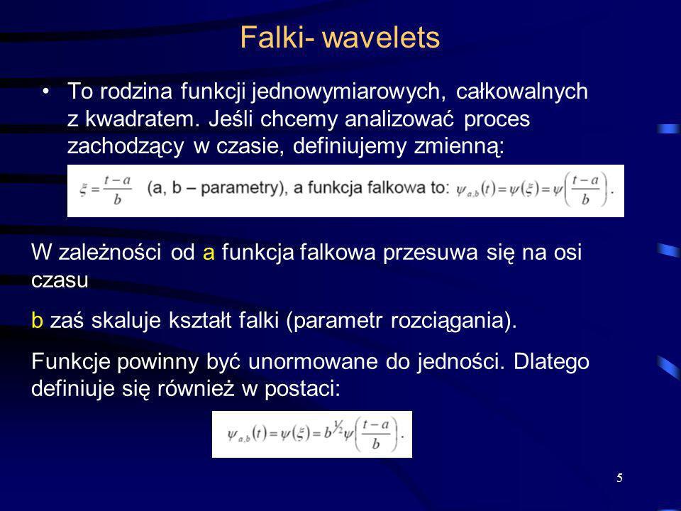 5 Falki- wavelets To rodzina funkcji jednowymiarowych, całkowalnych z kwadratem. Jeśli chcemy analizować proces zachodzący w czasie, definiujemy zmien