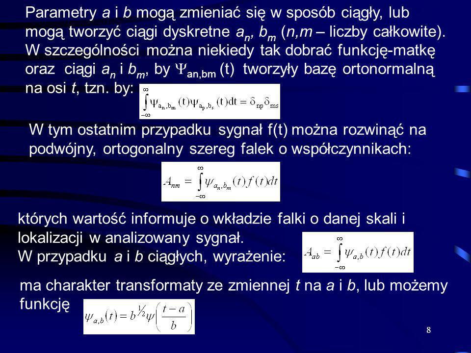 9 w powyższym wzorze interpretować jako jądro jednorodnego filtru liniowego, który z sygnału wydobywa pewną umowną składową o skali b, wskazując jaką amplitudę ma ona w otoczeniu a.