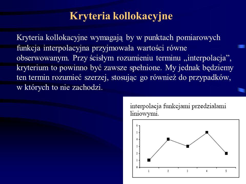 22 Kryteria kollokacyjne Kryteria kollokacyjne wymagają by w punktach pomiarowych funkcja interpolacyjna przyjmowała wartości równe obserwowanym.